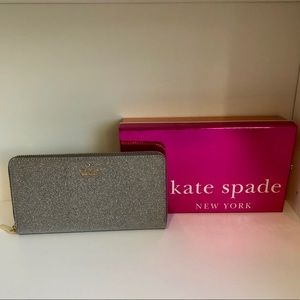 Kate Spade Silver Glitter Zip Wallet